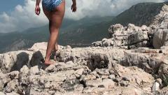 Walking on cliffs Cellulite Stock Footage