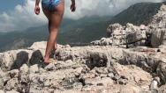 Stock Video Footage of Walking on cliffs Cellulite