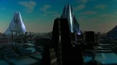 Fly Over Future City Stock Footage