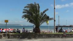 Weymouth UK, bay, Esplanade, beach, palm, Olympic Sailing observation tower - stock footage
