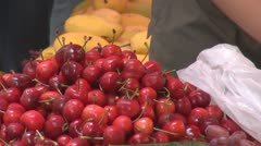 Fresh cherry for sale, street market, Hong Kong, China - stock footage