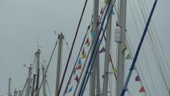 Weymouth UK, Inner Harbour, Olympic Games 2012 Sailing flags - stock footage