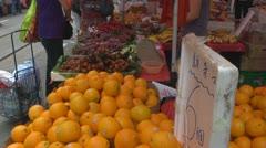 Fresh orange for sale, street market, Hong Kong, China Stock Footage