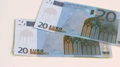 Euro notes in super slow motion moving Stock Footage