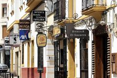 Ronda Spain business shops street urban - stock photo