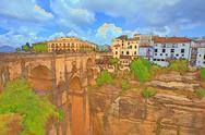 Stock Illustration of Ronda Spain historic bridge valley illustration 9875.jpg
