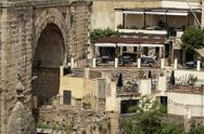 Ronda Spain restaurant cafe historic bridge 8464.jpg Stock Photos