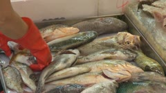 Fish for sale, street market, Hong Kong, China - stock footage