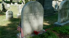 Susan B. Anthony Grave, headstone Stock Footage