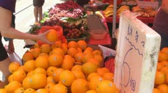 Fresh orange for sale, street market, Hong Kong, China - stock footage