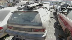 Cars scrapyard Stock Footage