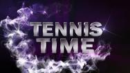 Tennis time text blue Stock Footage