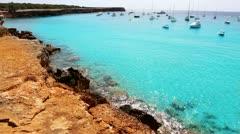 Beautiful beach coast in formentera balearic island Stock Footage