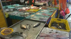 Fresh seafoods for sale, street market, Hong Kong, China - stock footage