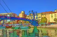 Savona Italy boat harbor marina draw bridge illustration Stock Illustration