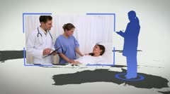 Silhouettes and videos of hospital with an Earth image courtesy of Nasa.org Stock Footage