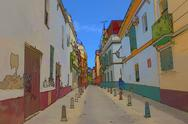 Stock Illustration of Seville Spain residential street illustration