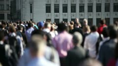 Crowd of pedestrian commuters on London Bridge 04 - stock footage
