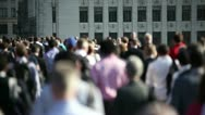 Crowd of pedestrian commuters on London Bridge 04 Stock Footage
