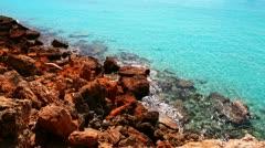Beautiful rocky beach in balearic islands Stock Footage