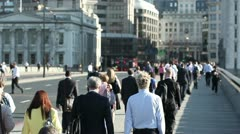 Crowd of pedestrian commuters on London Bridge 11 - stock footage
