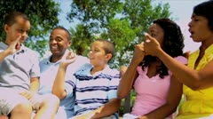 Ethnic Parents Laughing Family Outdoors - stock footage