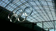 Five Olympic rings at St Pancras Station London Stock Footage