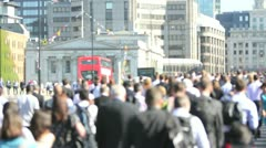 Busy Crowded city workers walk to work on the daily commute Stock Footage