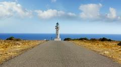 Barbaria cape Formentera lighthousein mediterranean sea Stock Footage