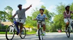African American Family Riding Bicycles  Stock Footage