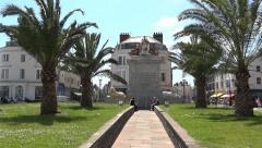 Weymouth UK, King's Statue, Esplanade, palm trees, Olympic Games tourists - stock footage