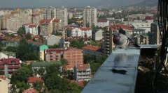 Three pigeons on a roof _2 Stock Footage