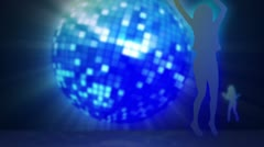 Four screens in chroma key against a disco ball Stock Footage