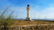 Stock Video Footage of Barbaria cape Formentera lighthousein mediterranean sea