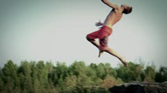 Stock Video Footage of Cliff Diving Back Flip (SLOW MOTION)