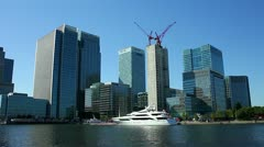 Canary Wharf office blocks in Docklands London Stock Footage