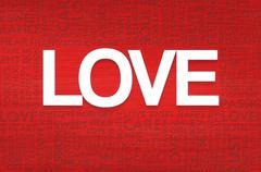 love valentine word cloud - stock illustration