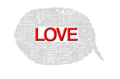love valentine word collage on white background - stock illustration