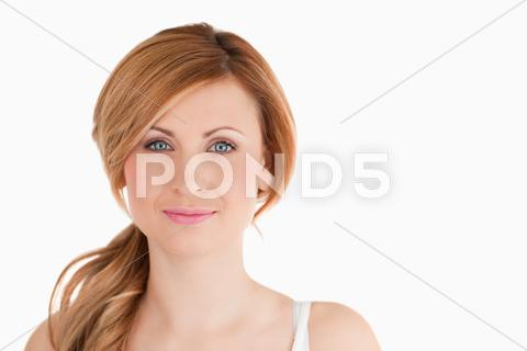 Stock photo of Attractive blond-haired woman posing