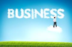 Business man drawing business cloud text Stock Photos