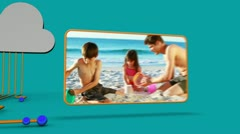 Animation of family videos on the beach - stock footage