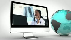 Video of doctors in multimedia with an Earth image courtesy of Nasa.org Stock Footage