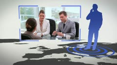 Videos of business people next to a map with Earth image courtesy of Nasa.org - stock footage