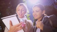 Business colleagues using wireless  internet Stock Footage