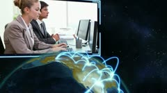 Videos of business people with Earth image courtesy of Nasa.org - stock footage