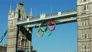 Stock Video Footage of Tower Bridge with the Olympic rings in London England UK