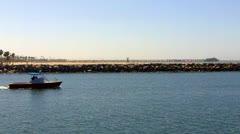 Harbor Patrol Boat In Alamitos Bay Stock Footage