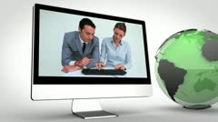 Video of business with a green Earth image courtesy of Nasa.org - stock footage