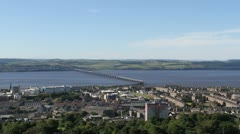 Elevated view of Tay Rail Bridge Dundee Scotland Stock Footage