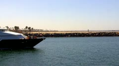 Long Beach Marine Institute Boat Leaving Harbor Stock Footage